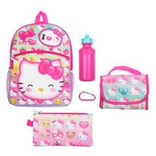 Kids Hello Kitty® Backpack, Lunch Bag, Pencil Case, Water Bottle & Carabiner Set