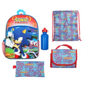 Kids Sonic the Hedgehog Backpack, Lunch Bag, Pencil Case, Water Bottle & Sling Bag Set
