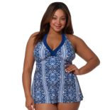 Plus Size Pink Envelope Tummy Slimmer Printed Swimdress
