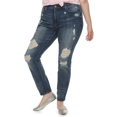 Juniors' Plus Size Mudd® Low-Rise Destructed Skinny Jeans
