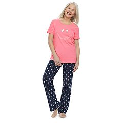 Women's Jammies For Your Families 'Luv Ya More Than Ice Cream' Tee & Bottoms Pajama Set