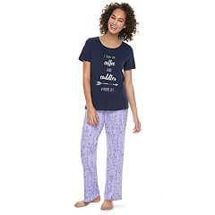 Women's Jammies For Your Families 'I Run On Coffee and Cuddles #MOMLIFE' Tee & Arrow Bottoms Pajama Set