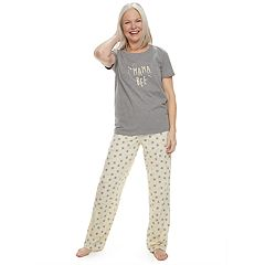 Women's Jammies For Your Families 'Mama Bee' Tee & Bottoms Pajama Set