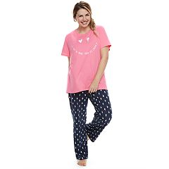 Plus Size Jammies For Your Families 'Luv Ya More Than Ice Cream' Tee & Bottoms Pajama Set