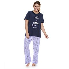 Plus Size Jammies For Your Families 'I Run On Coffee and Cuddles #MOMLIFE' Tee & Arrow Bottoms Pajama Set