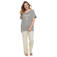 Plus Size Jammies For Your Families 'Mama Bee' Tee & Bottoms Pajama Set