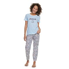 Women's Jammies For Your Families 'Mommin All Day Everyday' Striped Tee & Floral Bottoms Pajama Set