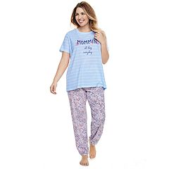 Plus Size Jammies For Your Families 'Mommin All Day Everyday' Striped Tee & Floral Bottoms Pajama Set