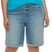 Plus Size Apt. 9® Cuffed Denim Bermuda Shorts