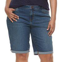 Plus Size Apt. 9® Cuffed Denim Bermuda Shorts