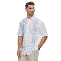 Men's Havanera Short Sleeve Linen Yarn Dye Panel Button-Down Shirt