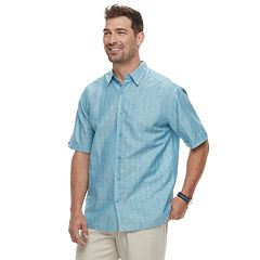 Men's Havanera Short Sleeve Crossdye Window Pane Button-Down Shirt