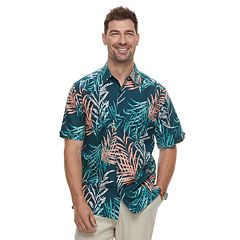 Men's Havanera Short Sleeve Linen Water Color Tropical Print Button-Down Shirt