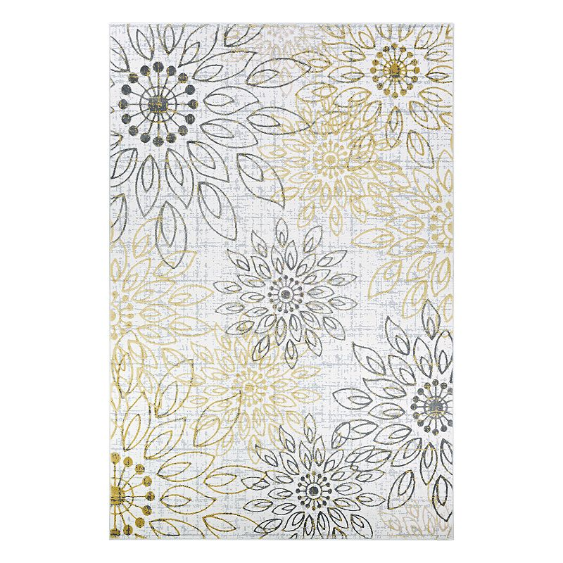 Couristan Calinda Summer Bliss Medallion Rug, Gold, 8X11 Ft