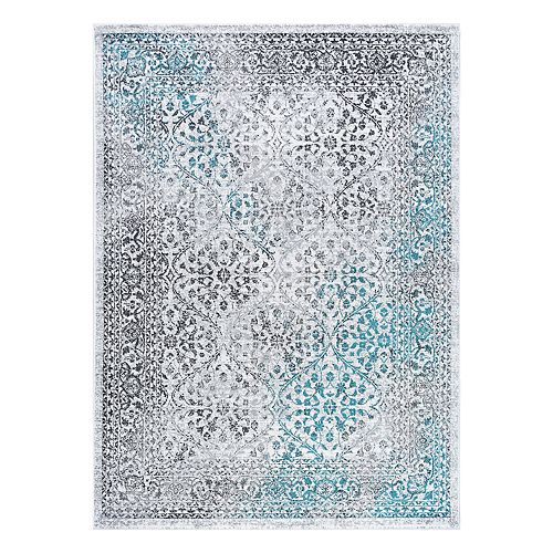 KHL Rugs Delfina Transitional Brocade Framed Floral Rug