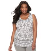 Plus Size Croft & Barrow® Pleated Scoopneck Tank