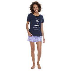 Women's Jammies For Your Families 'I Run On Coffee and Cuddles #MOMLIFE' Tee & Arrow Shorts Pajama Set