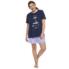 Plus Size Jammies For Your Families 'I Run On Coffee and Cuddles #MOMLIFE' Tee & Arrow Shorts Pajama Set