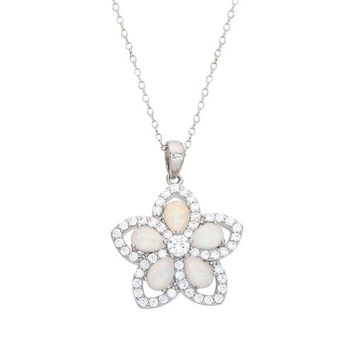 Sterling Silver Cubic Zirconia & Lab-Created White Opal Flower Pendant