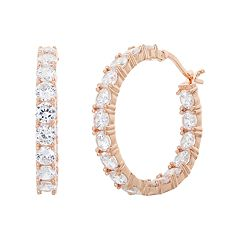 18k Rose Gold Over Silver Cubic Zirconia Hoop Earrings