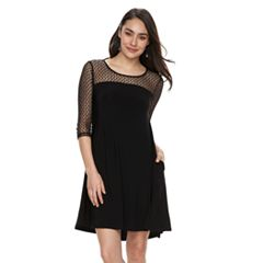 Women's Nina Leonard Mesh Yoke Trapeze Dress