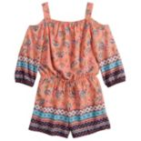 Girls 7-16 My Michelle Cold-Shoulder Floral Border Romper
