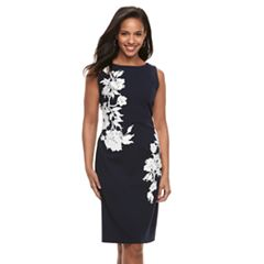 Women's Nina Leonard Floral Applique Sheath Dress