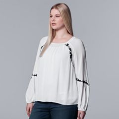 Plus Size Simply Vera Vera Wang Embroidered Top