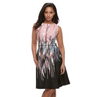 Women's Nina Leonard Feather Print A-Line Dress