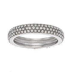 Silver Tone Simulated Crystal Ring