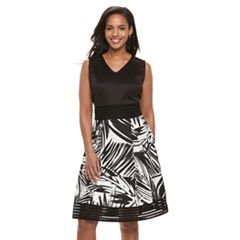 Women's Nina Leonard Pleated A-Line Dress