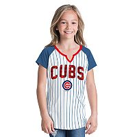 Girls 6-16 Chicago Cubs Pin Stripe Jersey Tee