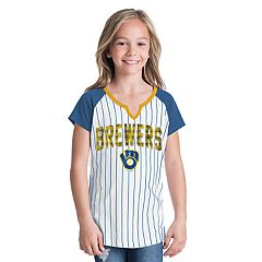 Girls 6-16 Milwaukee Brewers Pin Stripe Jersey Tee