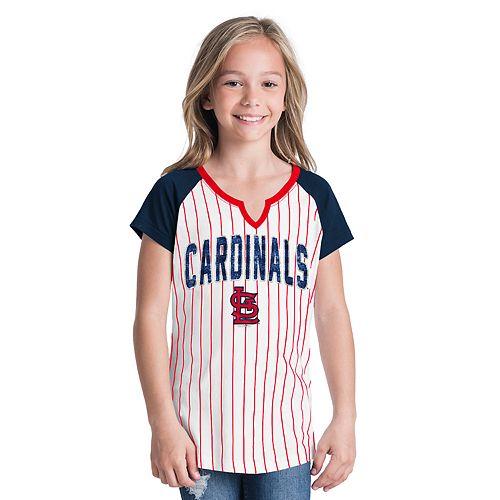 Girls 6-16 St. Louis Cardinals Pin Stripe Jersey Tee