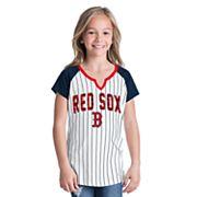 Girls 6-16 Boston Red Sox Pin Stripe Jersey Tee