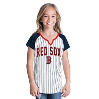 Girls 6-16 Boston Red Sox Pin Stripe Jersey Tee