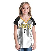 Girls 6-16 Pittsburgh Pirates Pin Stripe Jersey Tee