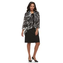 Women's Nina Leonard Sheath Dress & Printed Cardigan Set
