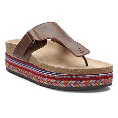 SO® Bullshark Women's Platform Footbed Sandals