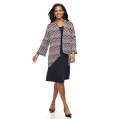 Women's Nina Leonard Printed Cardigan & Dress Set