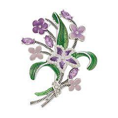 Napier Purple Flower Bouquet Pin