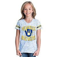 Girls 6-16 Milwaukee Brewers Space Dye Jersey Tee