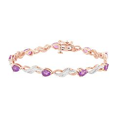 14k Rose Gold Over Silver Amethyst & Lab-Created White Sappphire Bracelet