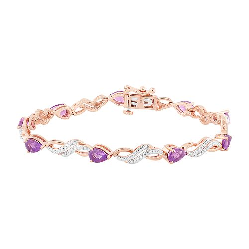dba57a3a49a0f 14k Rose Gold Over Silver Amethyst & Lab-Created White Sappphire Bracelet