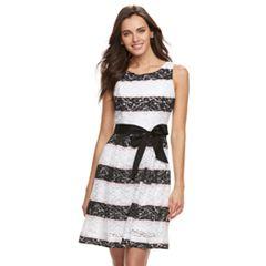 Women's Nina Leonard Striped Lace Fit & Flare Dress