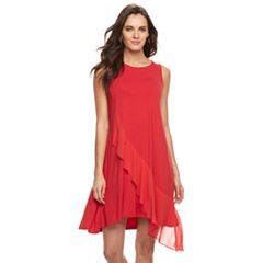 Women's Nina Leonard Ruffle Trapeze Shift Dress