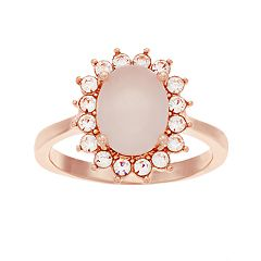 Rose Gold Tone Simulated Stone & Faux Opal Ring
