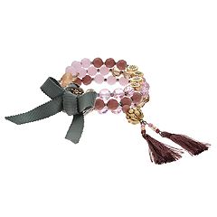 Simply Vera Vera Wang Pink Bead Tassel Stretch Bracelet Set