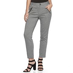 Juniors' Candie's® Herringbone-Print High-Waisted Ankle Pants