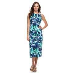 Women's Nina Leonard Watercolor Print Midi Dress